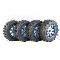 MadMax Full Set Of Giant Grip Tires, 8 Spoke Grey Wheels & Blue Beadlocks