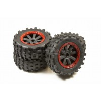 MadMax Full Wheel & Tire Sets - 8 Spoke Wheels & Giant Grip Monster Tires Truck Set - Red
