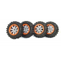 MadMax Giant Grip Tyres, 8 Spoke Grey Wheels & Orange Beadlocks - Full Set