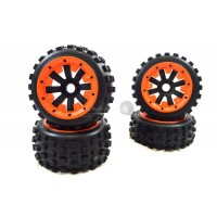 MadMax Big Digger Tyres On Black 8 Spoke Wheels - Complete Wheel Kit - Orange HD Beadlock