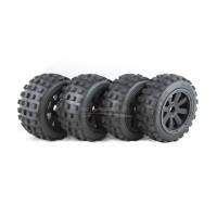 MadMax FULL Wheel & Tire Set, 8 Spoke Black Wheels with Black Beadlocks, Big Digger Tyres