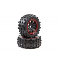 MadMax Giant Grip Wheels Black/Red (2pc)
