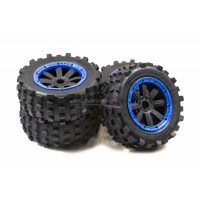MadMax Full Wheel & Tire Sets 8 - Spoke Wheels & Giant Grip Monster Tires Truck Set - Blue