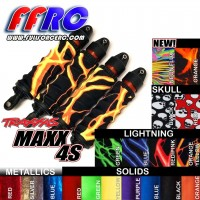 FullForce RC Traxxas MAXX Shock boots (4) Lightning Red/Pink