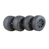 MadMax FULL Wheel & Tyre Set, 8 Spoke Black Rim & Beadlocks, On-Road Tyres