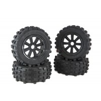 Mad Max 8 Spoke Wheels & Giant Grip Monster Tyres Truck Set Black