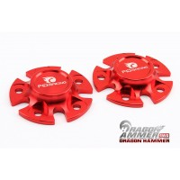 F.I.D Dragon Hammer Pair of Alloy Wheel Fixing Plates - RED