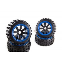 MadMax Big Digger Tires On Black 8 Spoke Buggy Rims -  Complete Wheel Kit - Blue Beadlocks
